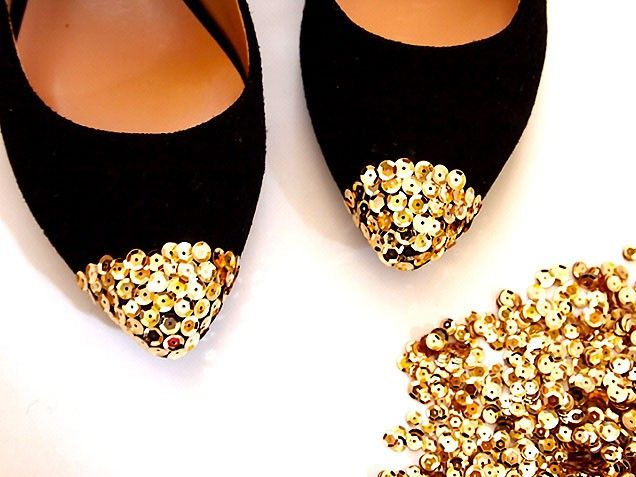 DIY Sequin Cap Toe Flats. #shoes #diy http://www.ivillage.com/diy-clothing-style-bloggers-best-fashion-projects/5-b-435372#533982