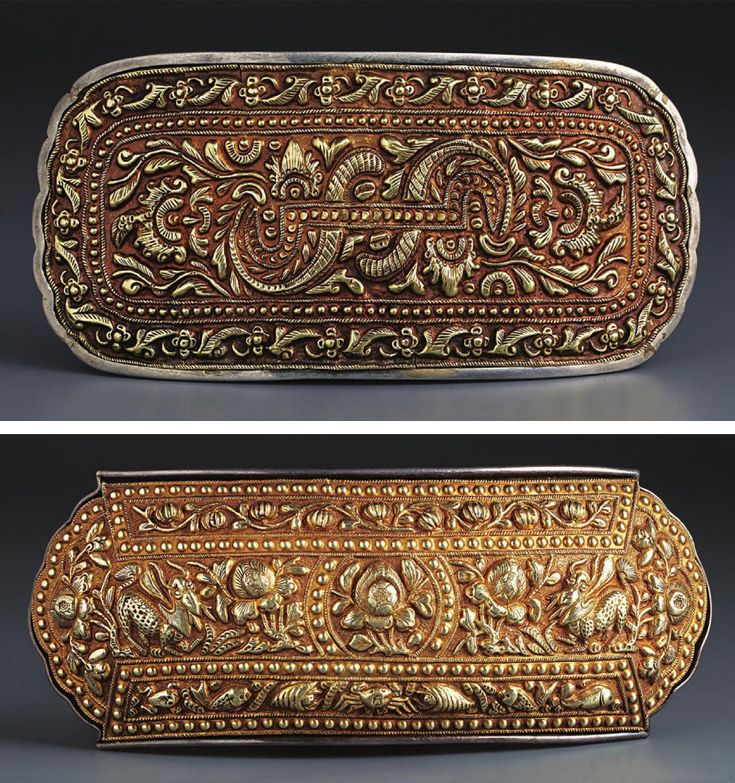 Indonesia ~ Peranakan Chinese | Belt buckles with animals and foliage; gold plate on silver backing | Late 19th - early 20th century | Acquired in Makassar  ||  Source: 'Gold Jewellery of the Indonesian Archipelago'; Pg 341