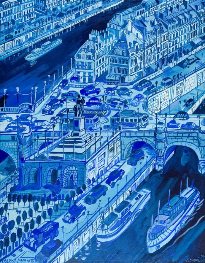 Edward Dwurnik - Pejzaż błękitny, 1994