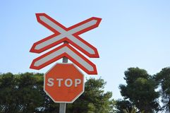 A Rail Crossing Stop Sign On Spanish Railway Lines Stock Photography