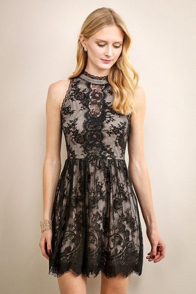 High Neckline Short Lace Dress