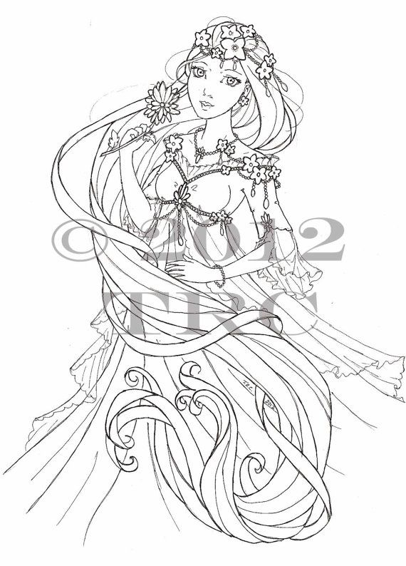 Items Similar To Long Haired Princess Printable PDF Coloring Page On Etsy