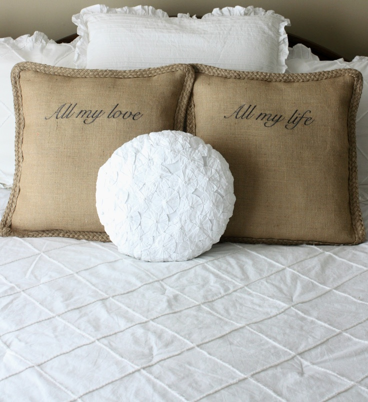 All my love All my life burlap pillows for your bed or sofa. available via & 11 best Bedroom ideas images on Pinterest   Home Room and Bedrooms pillowsntoast.com