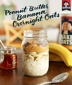 Busy mornings? We have the answer you didn't even know you needed! Quaker® overnight oats is a grab and go breakfast that you can make in just minutes! Grab a jar and the ingredients below and you'll be ready to make Quaker® Peanut Butter and Banana Overnight Oats. Refrigerate overnight, enjoy in the morning, and you'll be ready to take on the day!