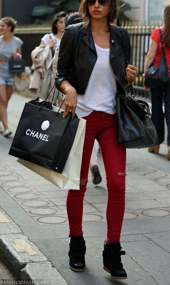 High top wedge sneakers, red skinnies, white tee crop leather jacket.