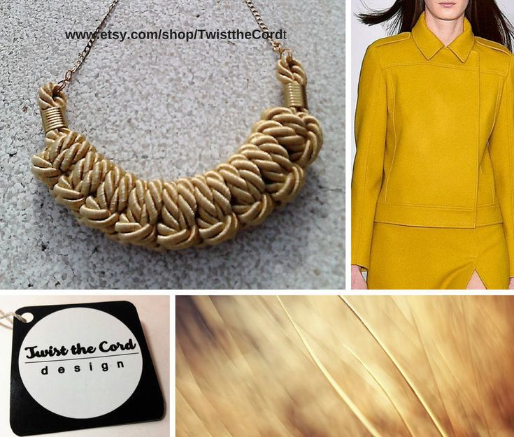 Golden yellow rope necklace-Knot necklace-Unique macrame gift- http://www.etsy.com/shop/TwisttheCord #jewelry #necklace #yellow #women #ropejewelry #yellowropenecklace #knotnecklace
