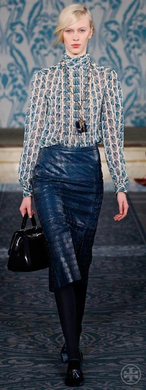 Look 17, Juliana: Scarab print chiffon turtleneck, Pleated laser-cut leather skirt