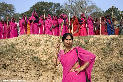 The Pink Sari Gang, or Gulabi (pink) Gang, is a group of several hundred vigilante women in India, committed to protecting women against social malpractice, corrupt administrators, and abusive husbands.