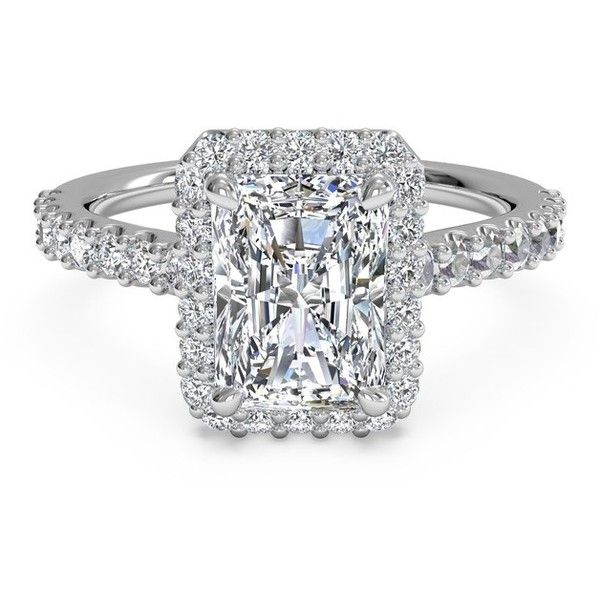 Emerald Cut French-Set Halo Diamond Band Engagement Ring in Platinum... ❤ liked on Polyvore featuring jewelry, rings, emerald cut engagement rings, halo diamond ring, thin rings, platinum engagement rings and diamond jewelry