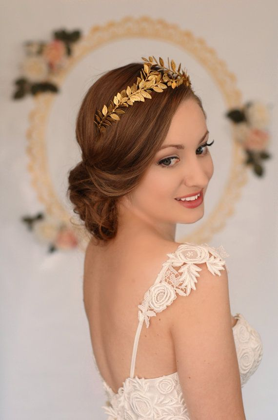 gold leaf crown and Lace Gown - Bridal Style - Bridal Beauty