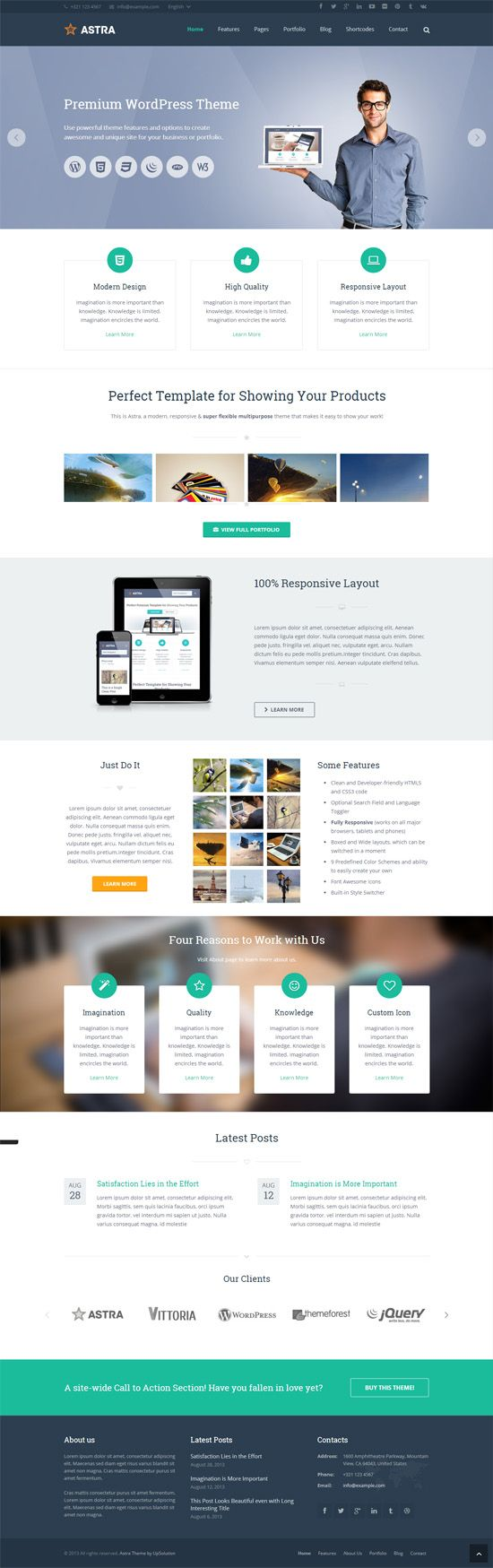 Astra - Retina Responsive WordPress Theme #wordpressthemes #responsivedesign #flatdesign
