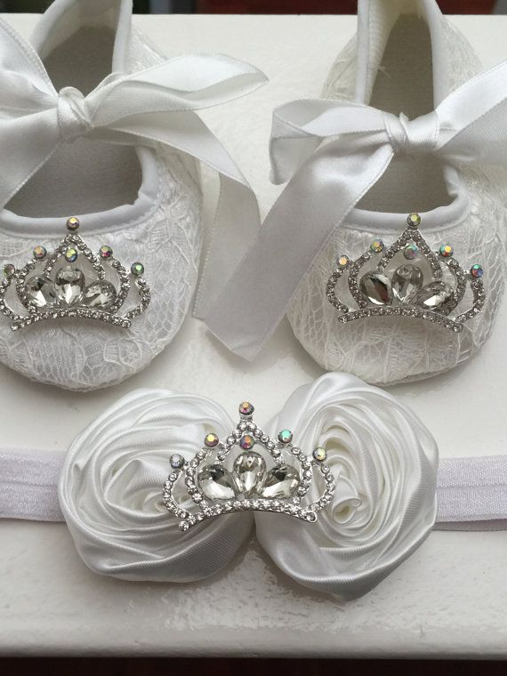 White baby girl crib shoes and headband set- Christening, baptism ,lace baby shoes- Newborn white rhinestone shoes