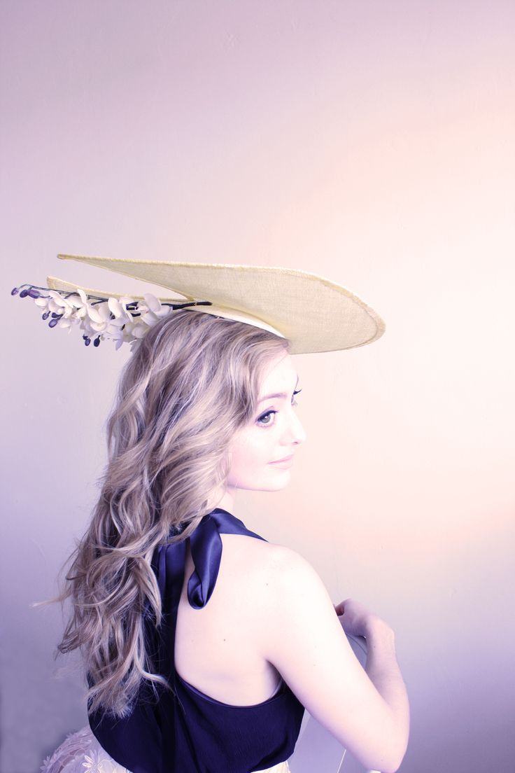 Natalie Chan 'Jardin du Trocadero' sculpted sinamay hat with orchids on the underside