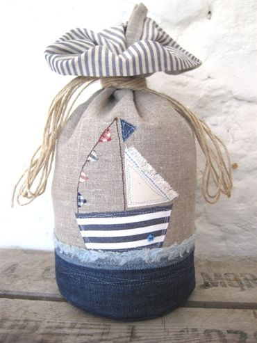 Linen Applique Boat Doorstop