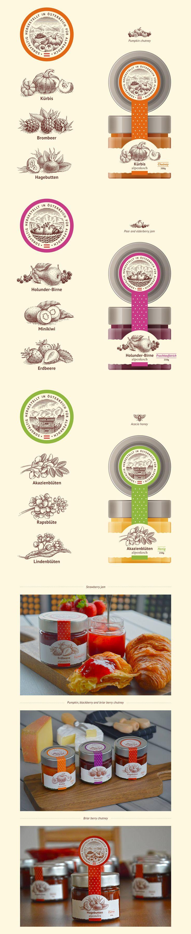 Chutney, jam and honey for Alpenkoch on Behance