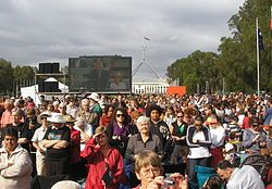 Stolen Generations apology from Australian government~Nelson's speech was considered controversial and received mixed reactions. Thousands of people who had gathered in Canberra and Melbourne turned their backs on the screens displaying Nelson giving his speech, while in Perth people booed and jeered until the screen was eventually switched off. - Wikipedia, the free encyclopedia