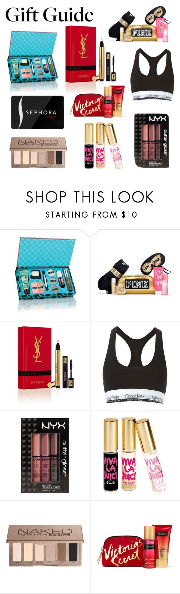 """""""Gift Guide"""" by cityvibes ❤ liked on Polyvore featuring beauty, Yves Saint Laurent, Calvin Klein Underwear, NYX, Juicy Couture, Sephora Collection and Urban Decay"""