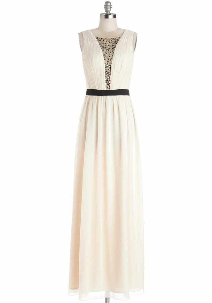 Cascading Champagne Dress, #ModCloth
