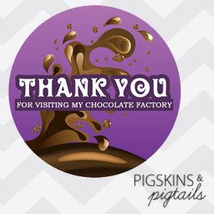 """Printable 3"""" thank you tags for your goodie bags. This is for a digital PDF file setup with 6 tags per page. They can be cut out with a 3"""" circle punch or cut in squares. Comes with 2 PDF Files - one sheet of PURPLE and one sheet of BLUE. Download and print the color that matches your invitations:Chocolate Factory Golden Ticket Invitations INSTANT DOWNLOAD - look for the download link after the PayPal payment page."""