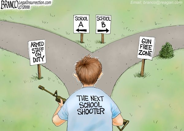 The world has changed, we can either protect our kids or leave them as sitting ducks for the next school shooter. Political Cartoon by A.F. Branco ©2018. To see more Legal Insurrection Branco cartoons, click here. A.F.Branco Coffee Table Book <—- Order Here! Donations/Tips accepted and appreciated – $1.00 – $5.00 – $10 – $100 – it all helps to fund this website and keep the cartoons coming. – THANK YOU!