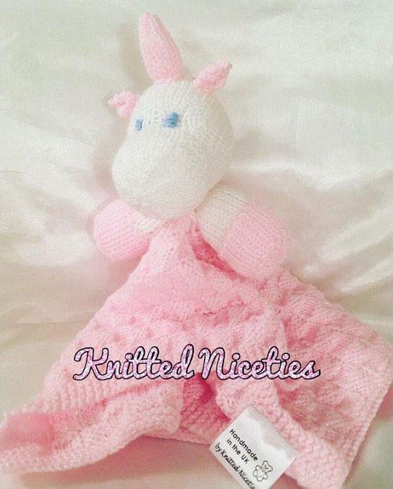 Unicorn Comfort Blanket Hand Knitted Baby Comforter Baby