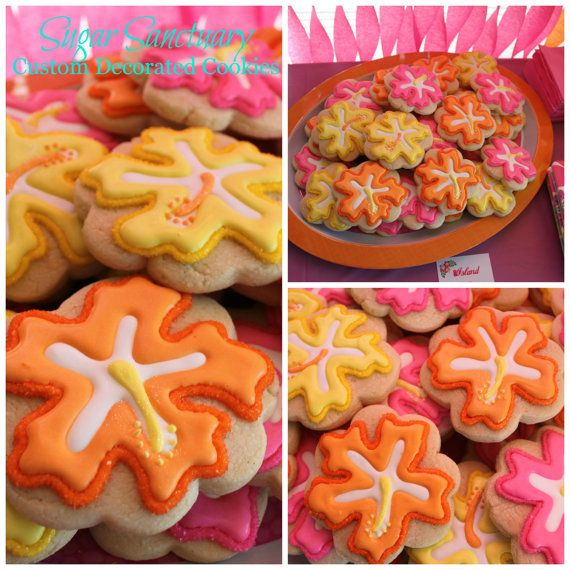 Hibiscus Flower Cookies- Luau Party Favors-1 Dozen Individually Wrapped on Etsy, $36.00