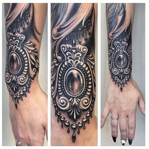 This filigree bracelet is the perfect addition to Ryan Ashley Malarkey's clients sleeve.