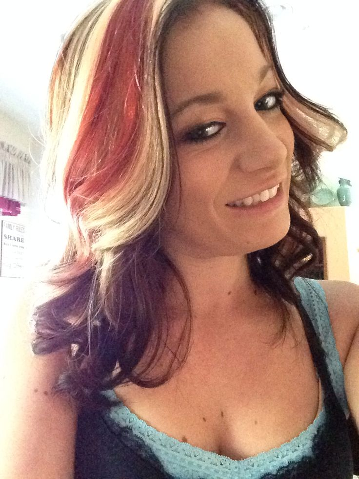 Pictures Of Dark Red Hair With Blonde Underneath Kidskunstfo