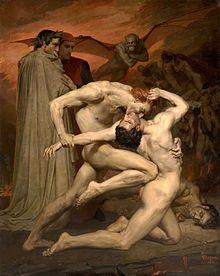 William-Adolphe Bouguereau Dante y Virgilio en el infierno (1850).-
