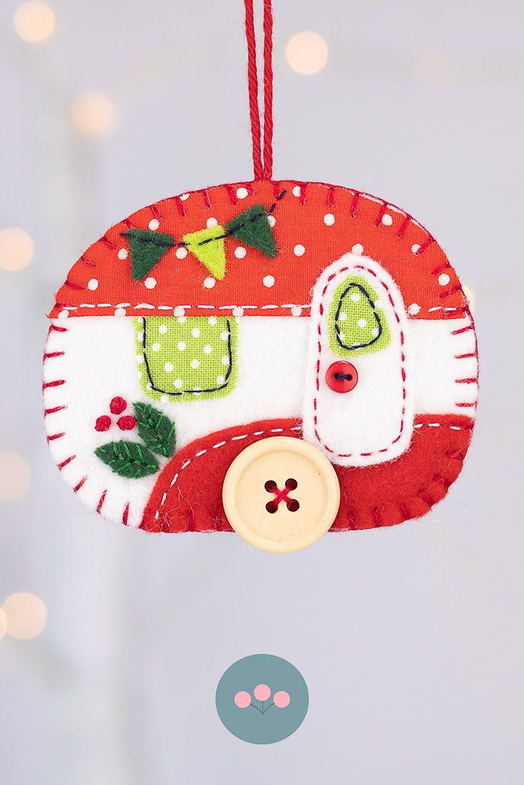 Vintage Caravan Christmas Ornament In Red And White Felt Christmas Ornaments Handmade Felt Ornament Felt Ornaments