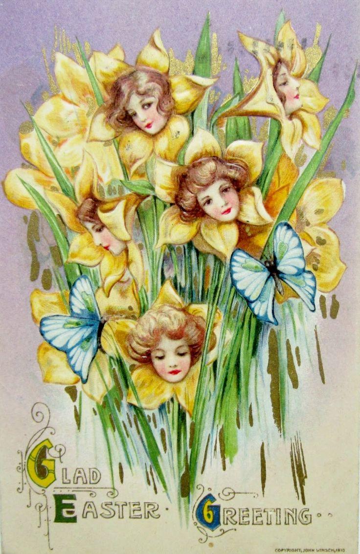Art Nouveau daffodil women Easter postcard illustrated by Samuel Schmucker, 1910