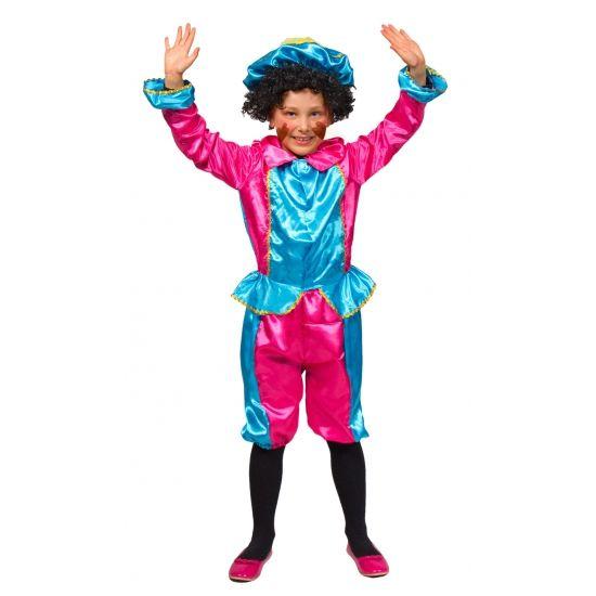 Roze met turquoise kinder pietenpak. Dit Zwarte pieten kostuum is gemaakt van fleece en bestaat uit het jasje, de broek en de pieten baret. Kleur: roze/turquoise.