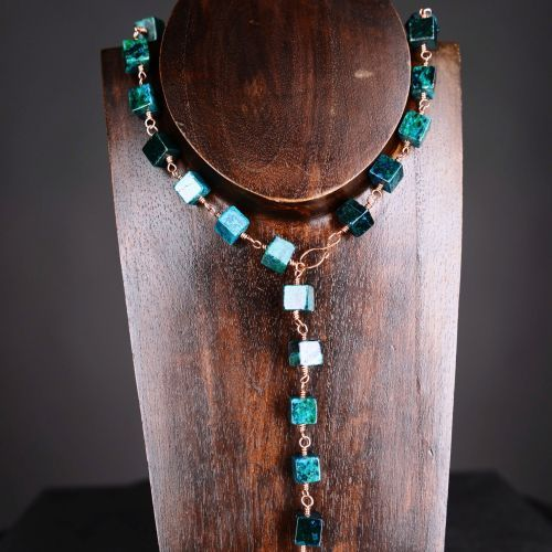 My #handmade Simple copper wire wrapped chrysocolla necklace, which can also be worn as a lariat.  Finished with a handmade copper S-hook