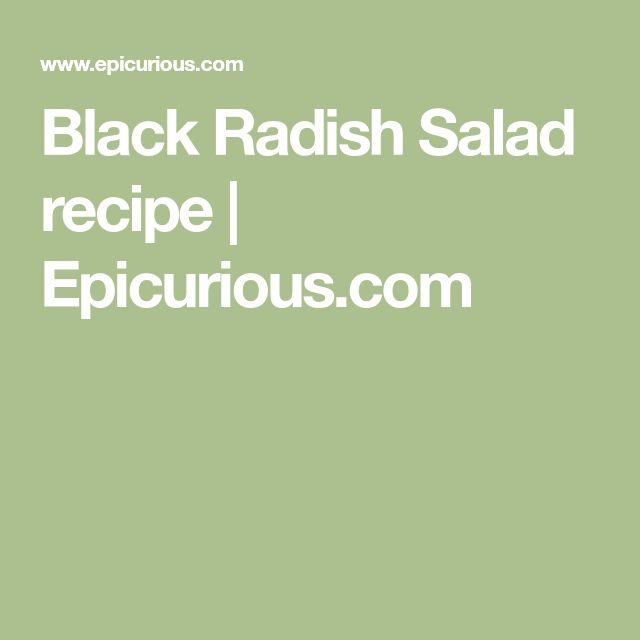 Black Radish Salad recipe | Epicurious.com