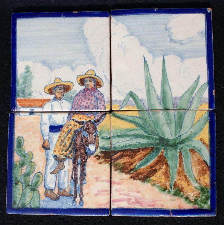 Vintage Uriarte Talavera Mexican Pottery 4 Tile Scenic Panel Couple W/Donkey