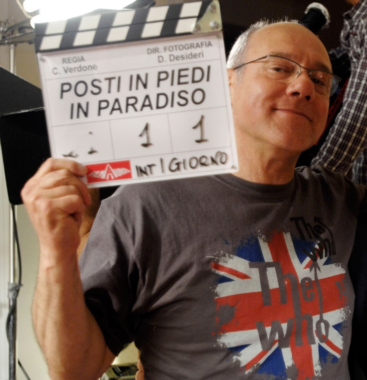 Carlo Verdone sul set del primo giorno di  riprese di Posti in piedi in Paradiso!
