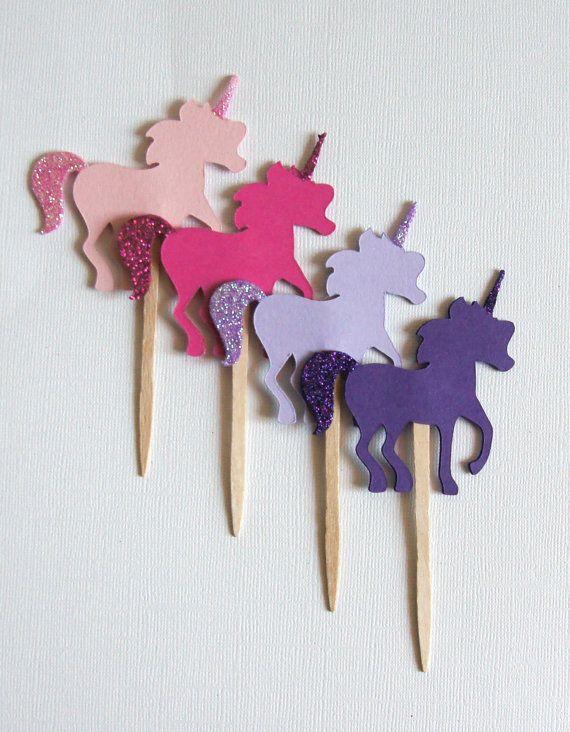 Pink und Purple Rainbow Set Glitter Unicorn Cupcake von paperlustLA