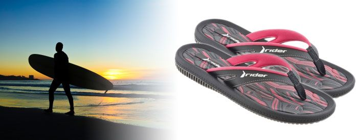 """Dunas IV WM - Pink/Black A trendy take on a classic Rider style, this relaxed sandal features a casual, synthetic-leather upper paired with a plaid insole for style, and a cushioned EVA footbed with an extra-soft toe piece for comfort, making it """"the most popular casual sandals"""" for men, women and kids in the Rider line."""
