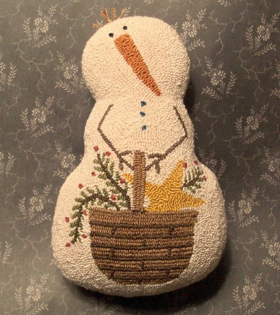 Primitive Needle Punch Snowman Doll And Basket by thetalkingcrow, $40.00