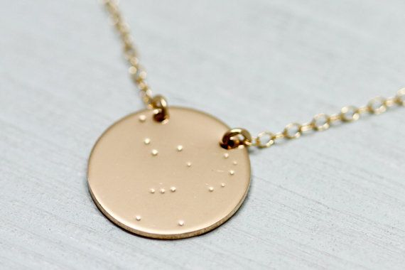 Orion constellation Collier - pendentif disque de collier en or - orion constellation - or bijoux - or - signe astrologique astrologie bijoux
