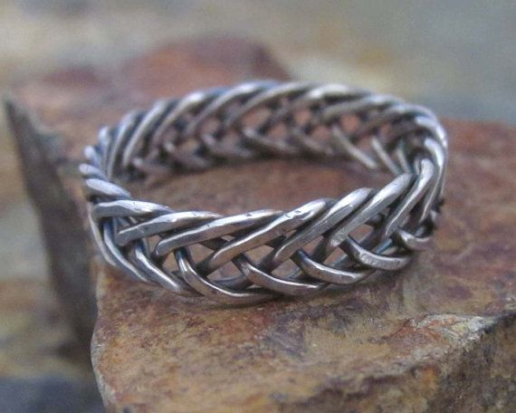 Sterling Silver Celtic Braided Ring - 6 Strand Braided Ring, Celtic Knot Ring, Mens Wedding Band, Rustic Jewely, Mens Ring, Gift for Him on Etsy, $39.99