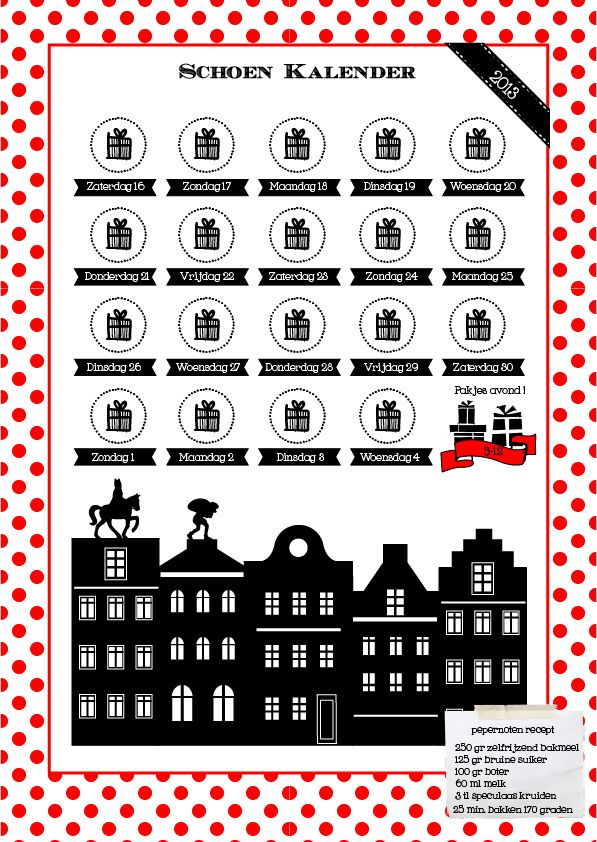 """De vraag rond Sinterklaas tijd is natuurlijk """"Wanneer mag ik mijn schoen zetten ? """" We hebben een leuke kalender gemaakt, die je in de schoen kunt doen als de Sint is aangekomen in Nederland. De pieten kleuren dan de kado'tjes in op de dagen dat de schoen gezet mag worden ! Elk jaar is het weer zoeken waar ons favoriete pepernoten recept is gebleven, dit jaar staat hij op de kalender, dat is handig ! Bij ons hangt de Sinterklaas schoen zet kalender al op de koelkast !"""