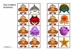 Sea creature dominoes (SB4632) - SparkleBox