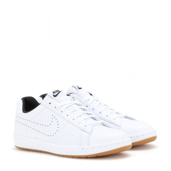 Nike Nike Tennis Classic Ultra Leather Sneakers (775 DKK) ❤ liked on Polyvore featuring shoes, sneakers, white, real leather shoes, tennis shoes, leather trainers, nike trainers and white shoes