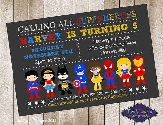 SUPERHERO BOY Invitation, Printable Birthday Invitation, Superhero Invitations, Superhero Invites, Superhero Typography Landscape  Invite