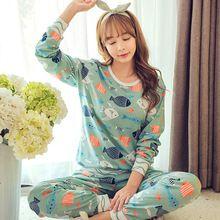 HOt Sale 2016 Autumn & Winter Cotton Pyjamas Women Girl Pajama Sets Cartoon Sleepwear Pajamas for women Long-Sleeved Tracksuit(China (Mainland))
