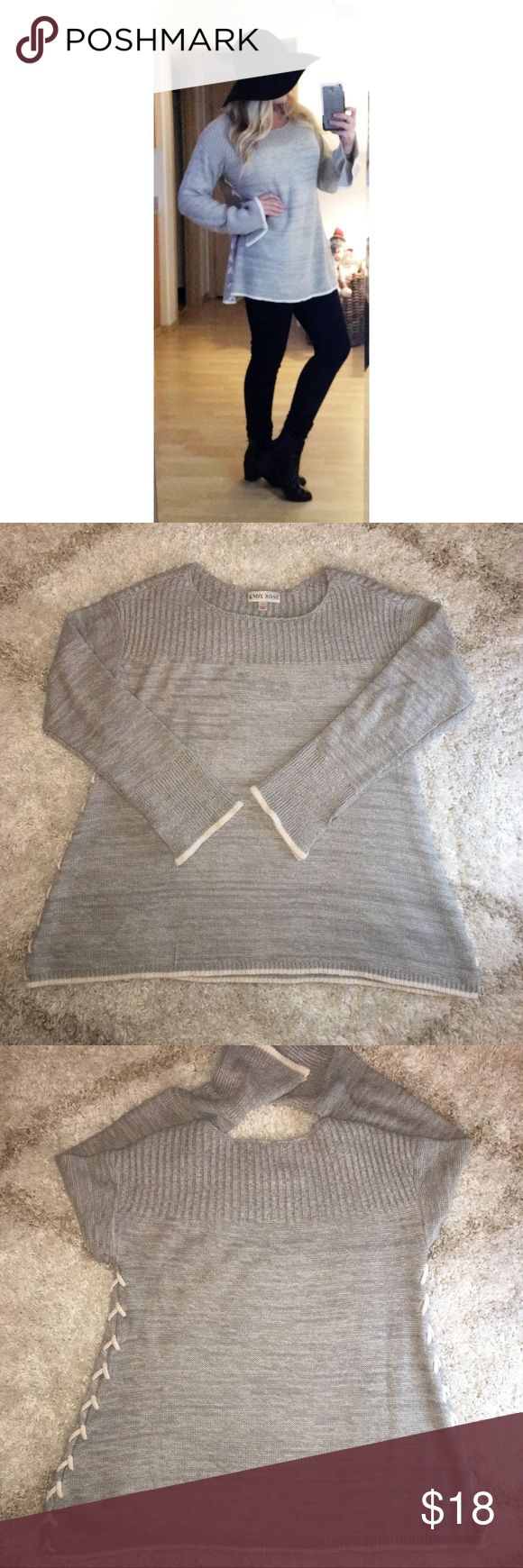 FL⚡️SH SALE!! ONE HOUR!! 🎉$16 to $12!! Knox Rose light gray sweater with cream chenille accents!! Stunning sweater and so flattering!! Looks great with leggings, tall stretch boots, skinny jeans or white skinny jeans. ❤️ So soft and no signs of wear! Gently worn. Pretty chenille criss cross up both sides, flared bell sleeve with slits and chenille edge. All around a stylish and beautiful sweater! Still available at Target for $30! Sz large, would fit US women's 10-14 depending on how…