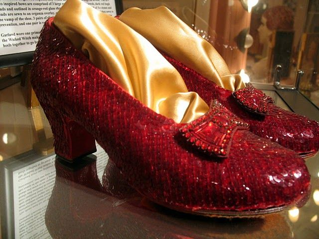 One of Judy Garlands pairs of Ruby Red Slippers  from the Wizard of Oz.  @ Hannah moore