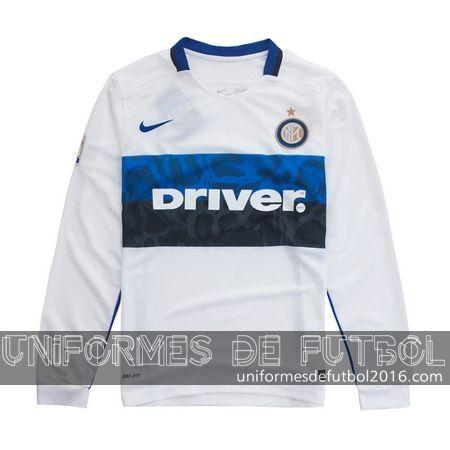 Jersey visitante para uniforme del Manga larga Inter Milan 2015-16    uniformes de futbol economicos