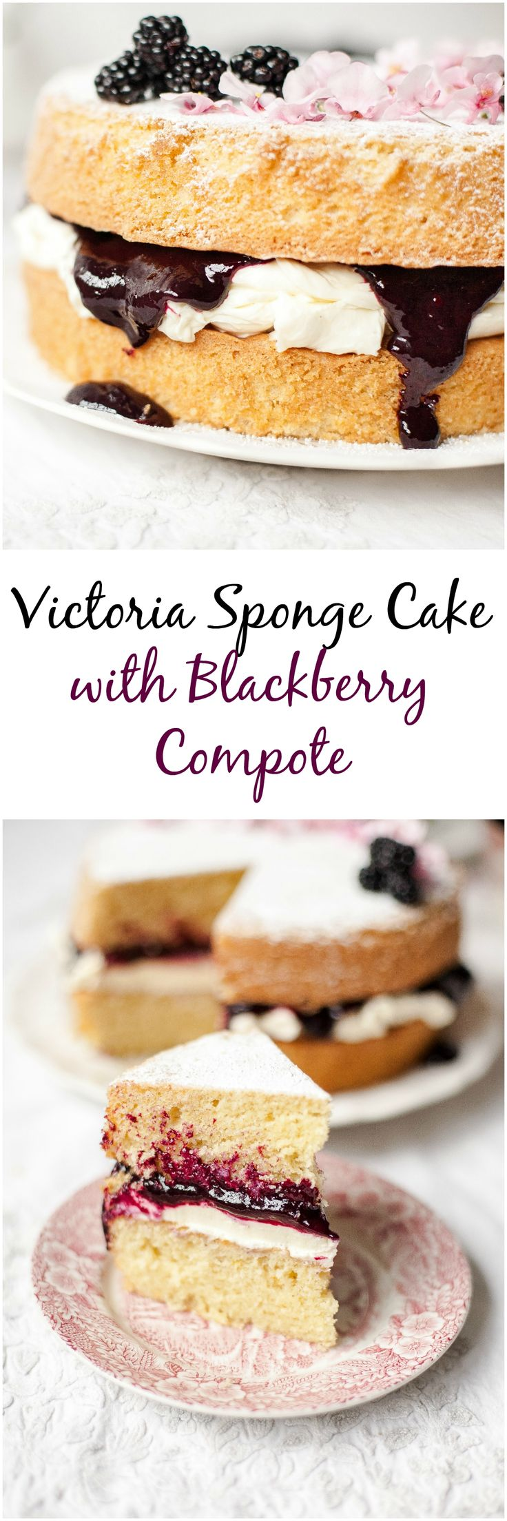 Classic Victoria Sponge Cake with Blackberry compote.